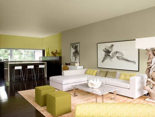 Beige and moss green living room paint ideas with decor options