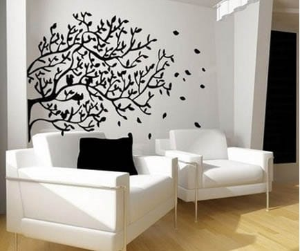 Black and white living room paint ideas with decal and matching furniture