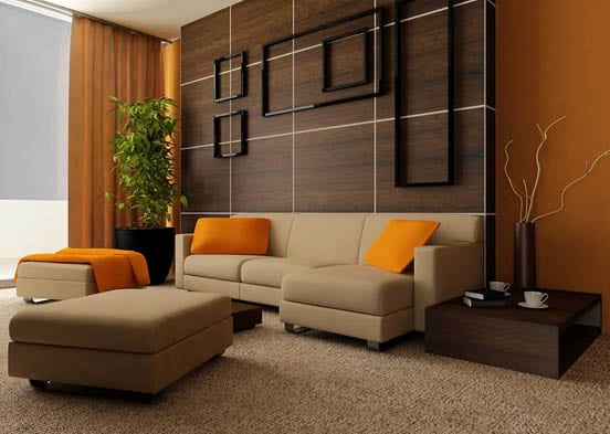Brown and orange modern living room paint ideas with plants and furniture