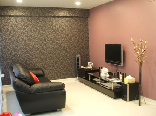 Pink with a darker color living room paint ideas with black furniture