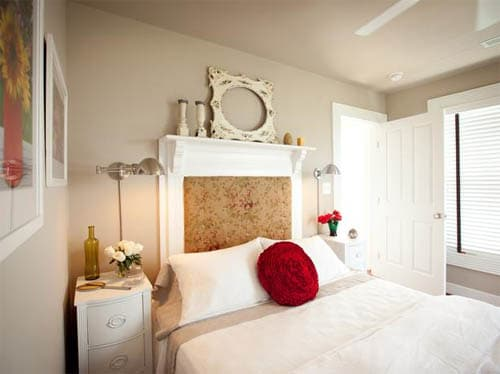 Small bedroom decorating ideas with mantelpiece as headboard
