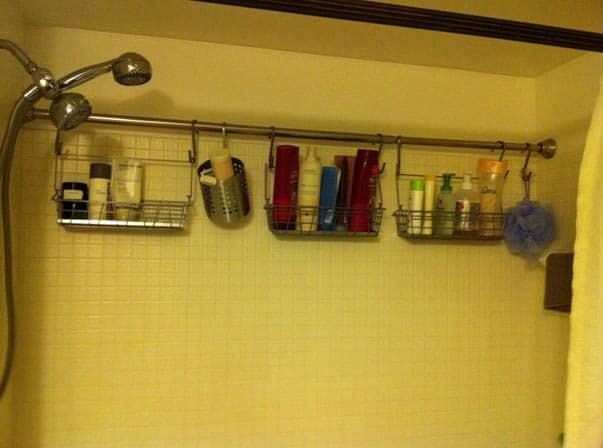 Curtain rod to hang shampoo and conditioner and more