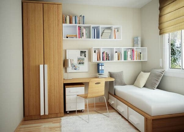White bedroom with shelves and other storage