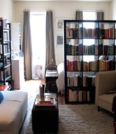 Lounging area with small bedroom decorating ideas with bookshelves in white room