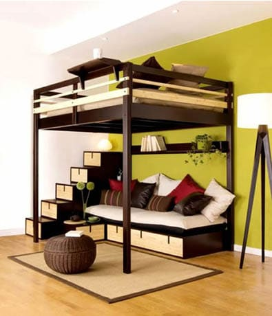 Loft bed with seating in green with bedroom decor