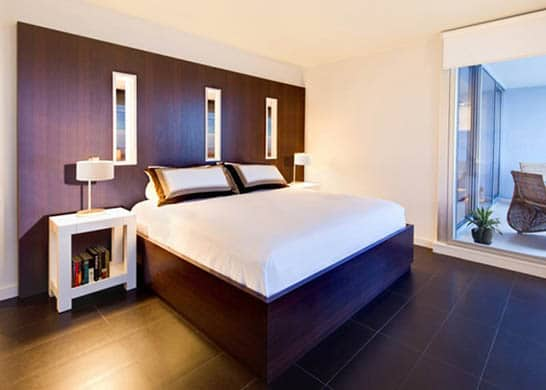 Light and dark colors with small bedroom decorating ideas