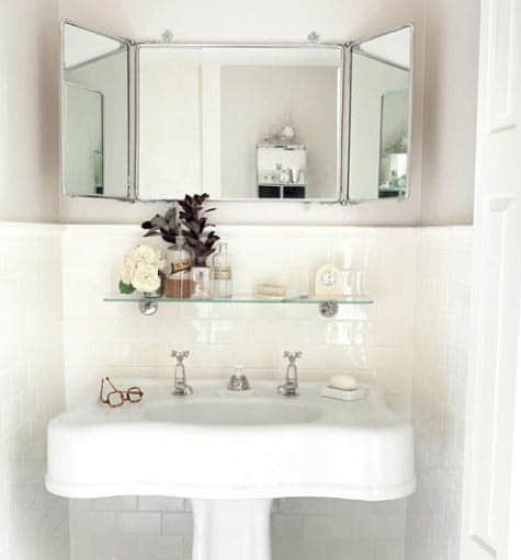 Glass shelf above sink with white small bathroom storage ideas and mirror