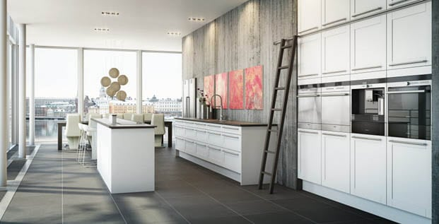 Gray modern kitchen ideas with artwork, island and other decor