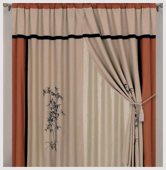 Chezmoi Collection Kariya 4-Piece Embroidery Bamboo Window Curtain Set, 60 by 84 by 18-Inch, Rust/Light Taupe
