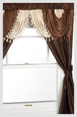 Regal Home Collections Amore 54-Inch by 84-Inch Window Set with Attached Valance Brown