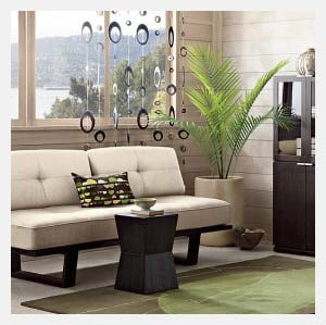Small sofa livingroom in light room with plant