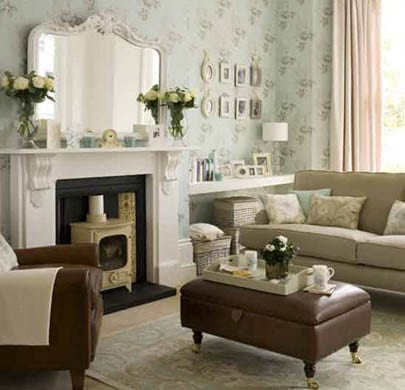 Small living room decor ideas on display with mirror and pictures