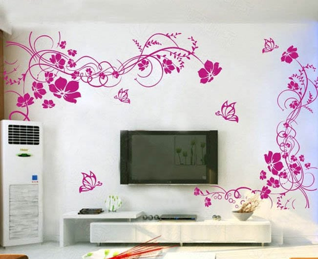Large floral and pink butterfly decal for living room
