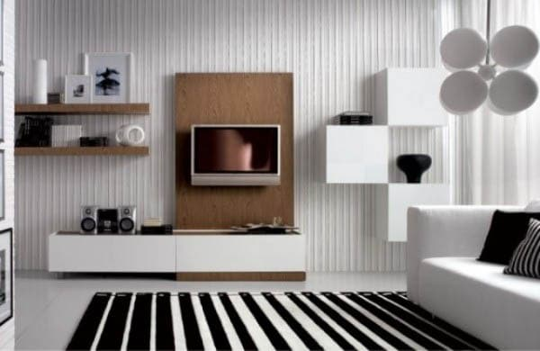 Shelves in living room for wall decor in black and white room