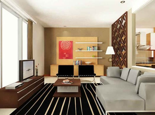 Patterned floor and modern livingroom with tv