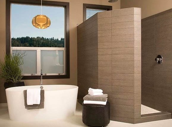 Tiled modern walk in shower ideas with outside tub