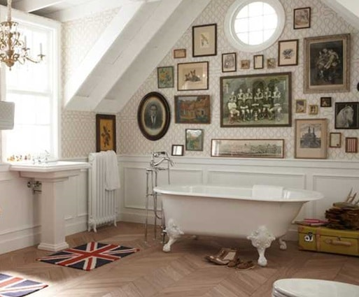 Vintage tub with photo wall design ideas and pictures
