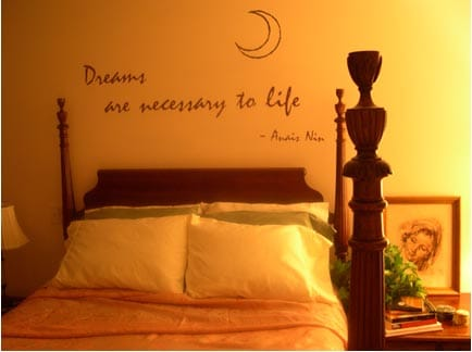 Quote in bedroom above bed