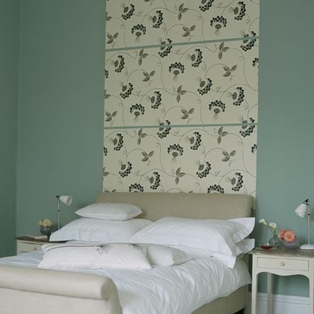 Panels of patterned wallpaper as bedroom painting ideas