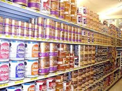 Choose High quality paint on shelves in store