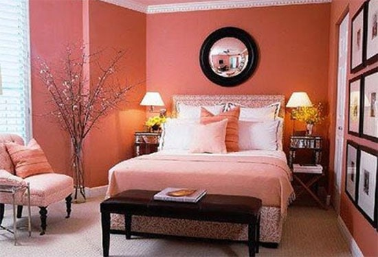 Bedroom Decor According to Feng Shui in pink with artwork and mirror