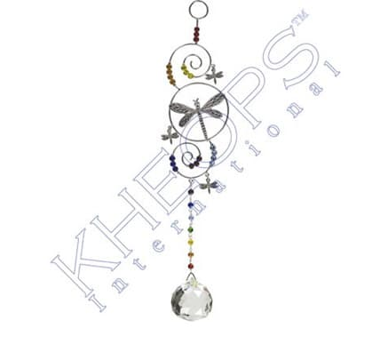 New Age Source Wire Hanging Crystal Chakra Dragonfly for bedroom