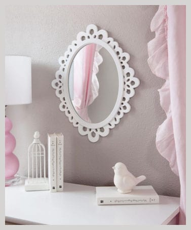 Butterfly Craze Decorative Oval Wall Mirror White Wooden Frame for Bedroom