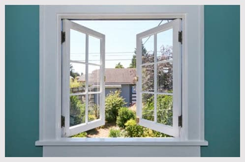 Open window white frame letting in fresh air