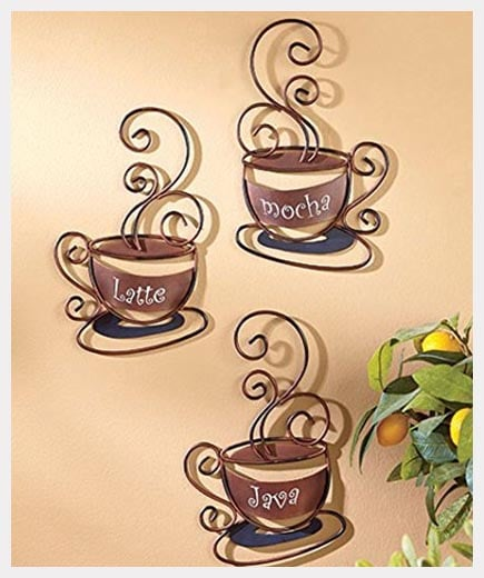 CT DISCOUNT STORE Set of 3 Metal Coffee Cups for kitchen