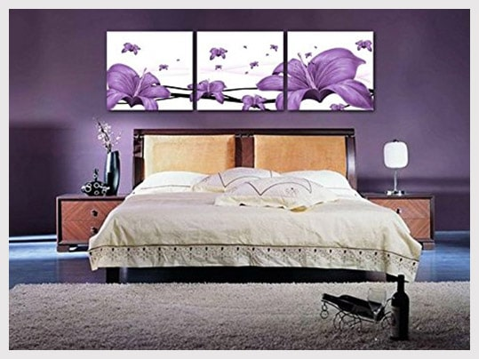 IN SUNSHINE Art Deco Modern Abstract Wall Art Painting on Canvas purple lily in bedroom