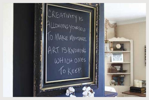 Chalkboard frame to decorate and spice up black wall in your home