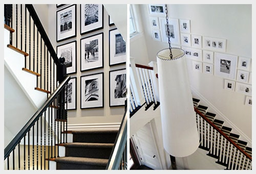 family wall with pictures in stairwell