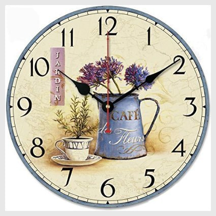 """iCasso 12"""" Vintage France Paris Colourful French Country Non-Ticking Silent Wood Wall Clock"""