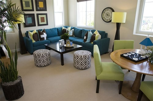 Corner furniture picking tips for a small living room with furniture and decor