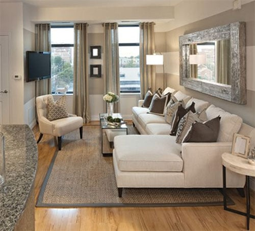 Light colored furniture in small room