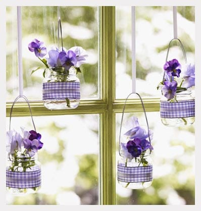 Aerial Vases with purple plants in front of window