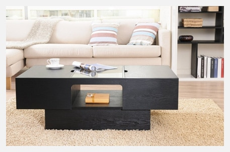 ioHOMES Lansing Rectangular Coffee Table with Storage in Black