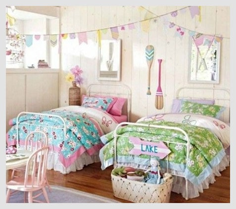 Country style twin girl bedroom ideas