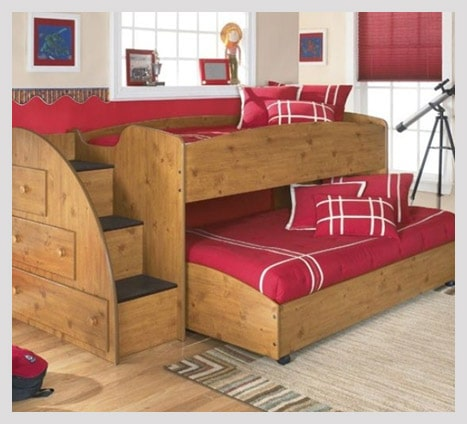 Bunk bed twin girl bedroom ideas with stairs