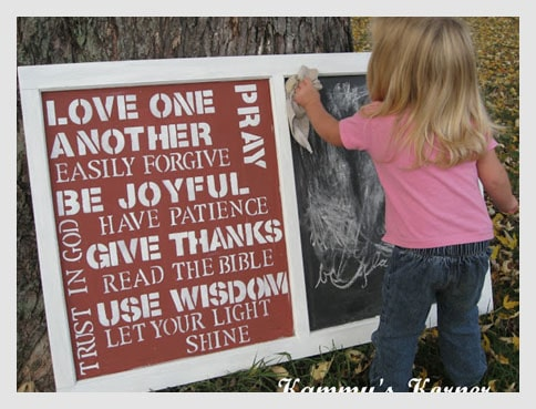 Old window used as erasable message board