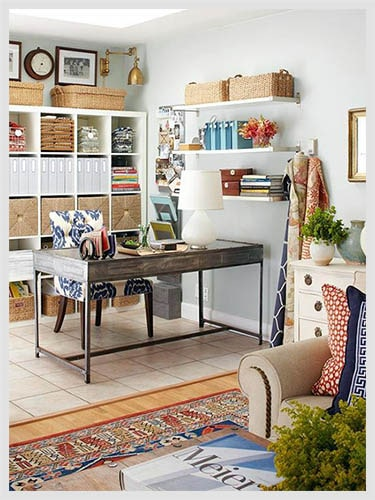 Living and Working Room with storage shelves