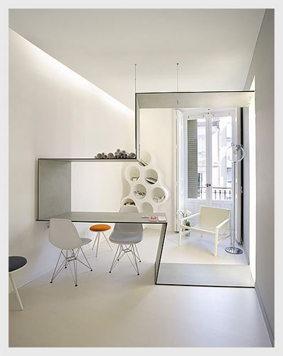divider and dining cum work table in white