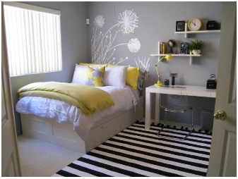 teenage bedroom color yellow and white