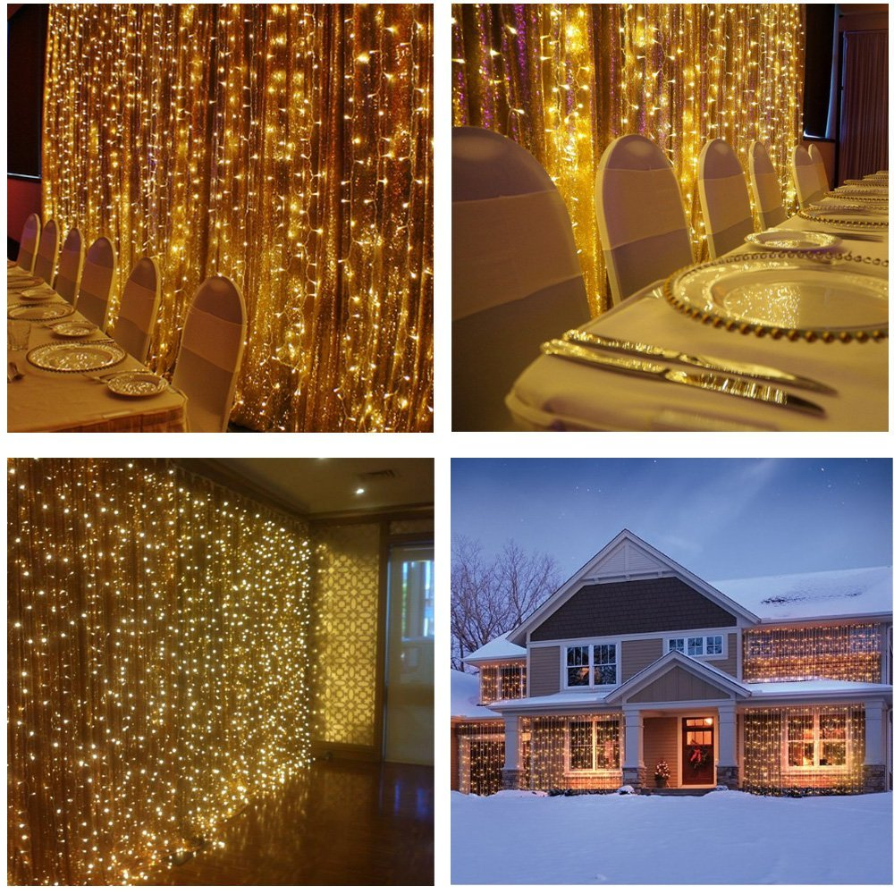 Icicle Curtain Christmas Lights used inside and outside the home