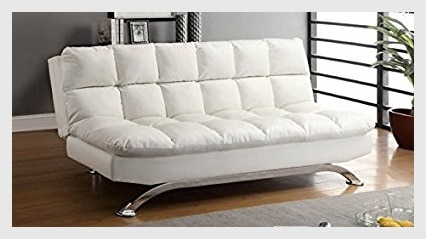 Multifunctional Decorating Furniture of America Preston Tufted Leather Sleeper Sofa Bed in White