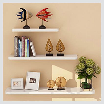 Yontree Mount Shelf Floating Shelves in white in small apartment living room