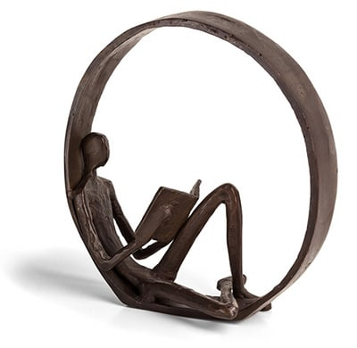 Danya B Encircled Reader Iron Sculpture to use on fireplace