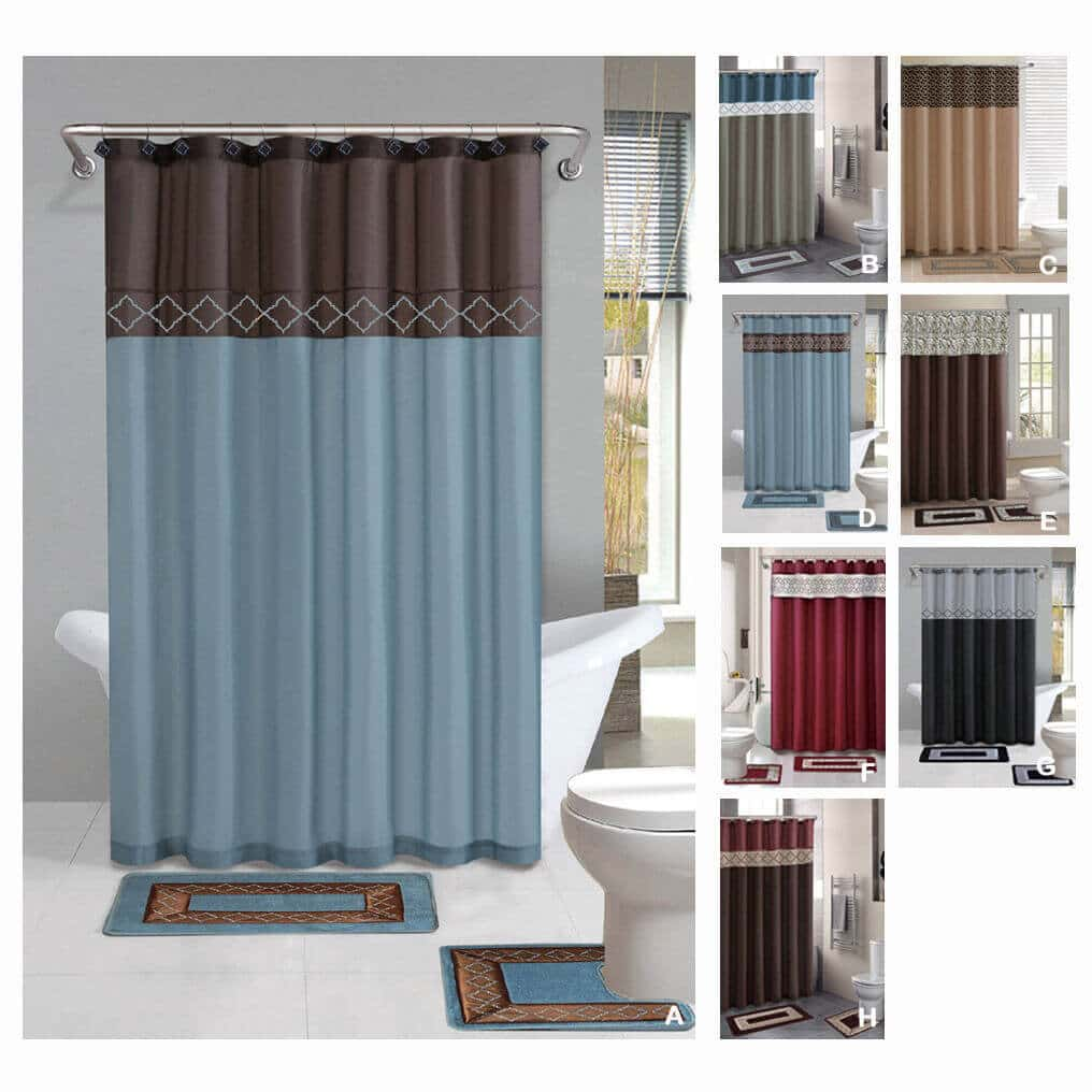 Complete Bathroom Sets With Shower Curtains A Revamp Rh Justdiydecor Com Rug Set Curtain