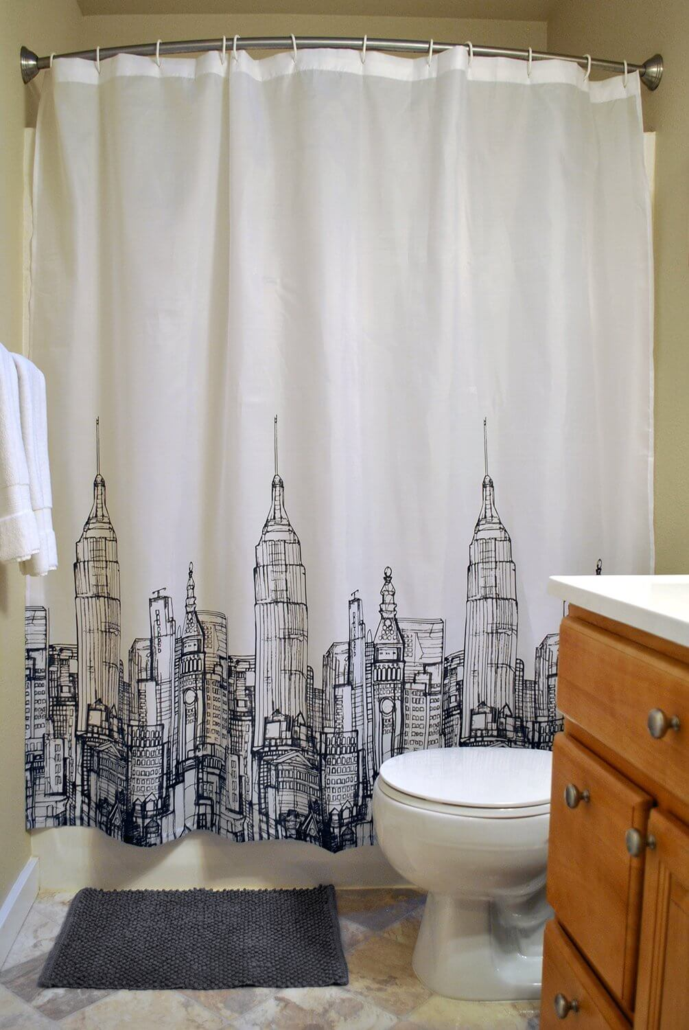 complete bathroom sets with shower curtains a budget friendly revamp just diy decor. Black Bedroom Furniture Sets. Home Design Ideas