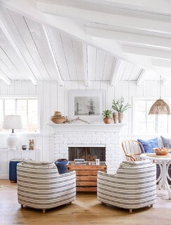Small living room beach ideas with a fireplace in white